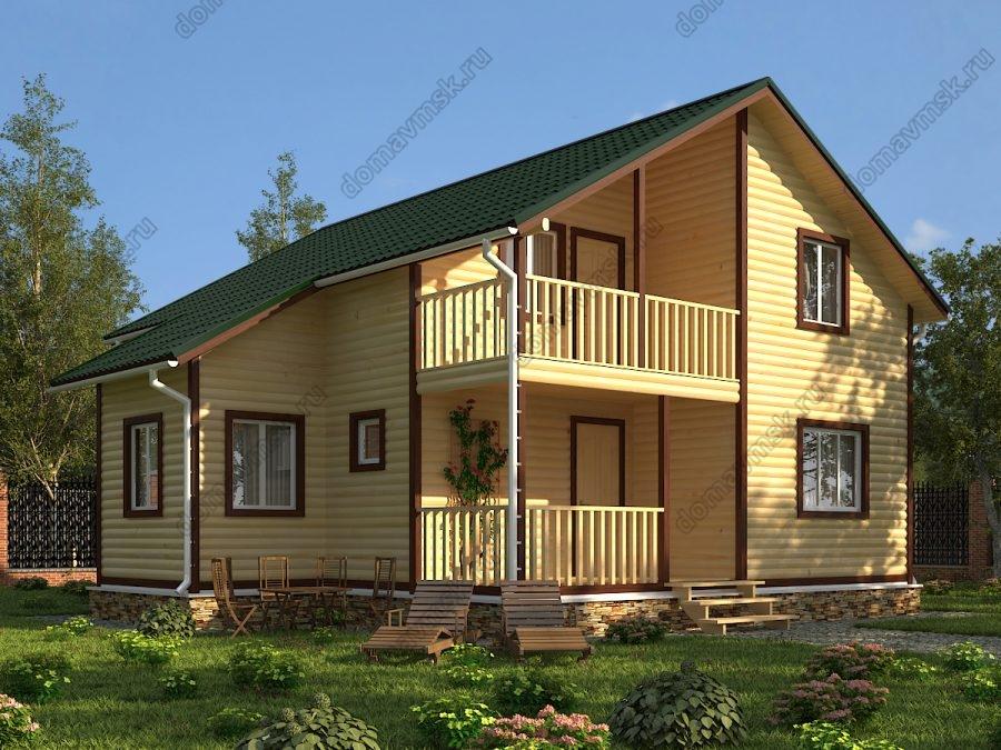 Двухэтажный дом из бруса 8х10 проект «Д148»