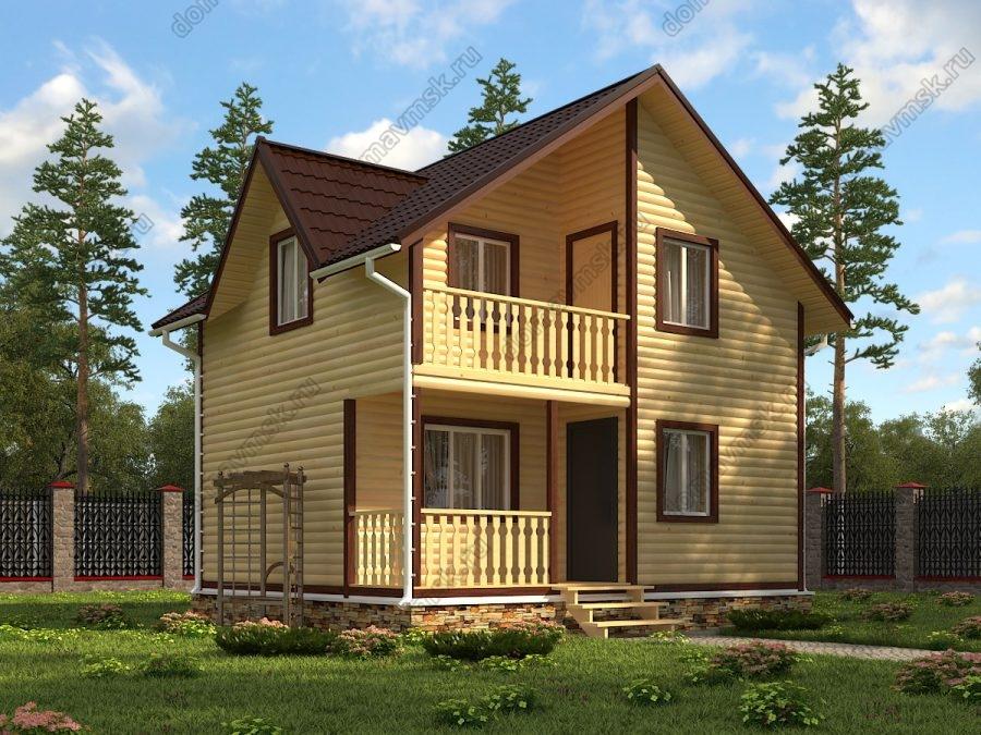 Двухэтажный дом из бруса 6х7 проект «Д168»