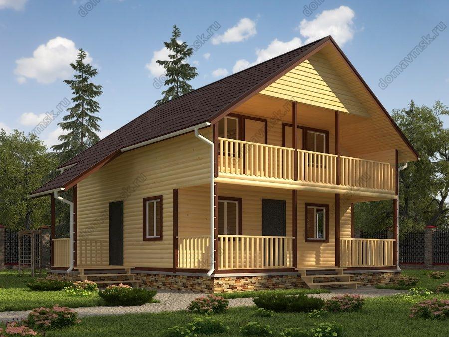 Двухэтажный дом из бруса 8х10 проект «Д179»