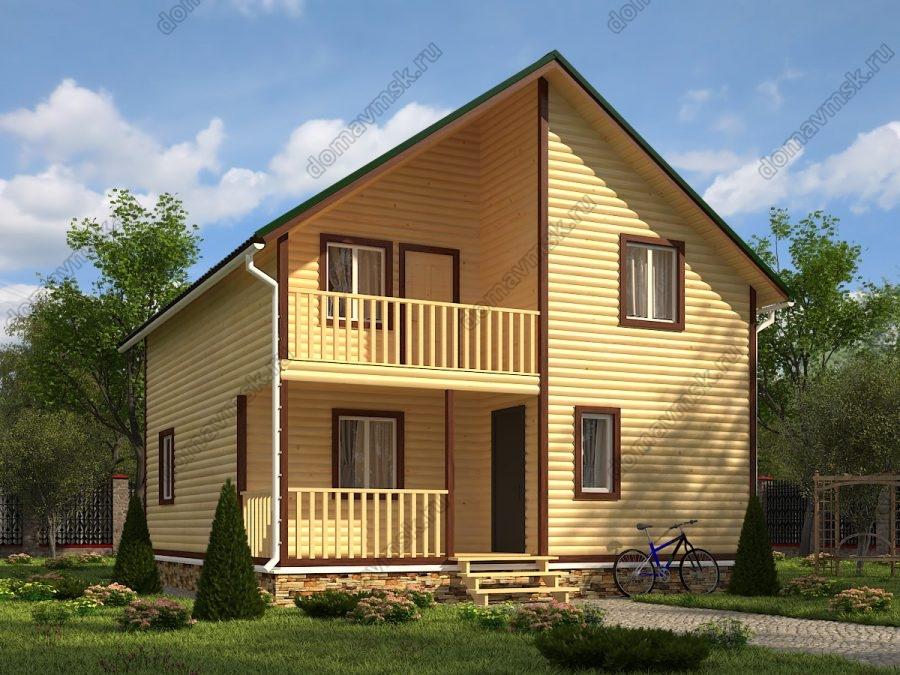 Двухэтажный дом из бруса 8х9 проект «Д181»