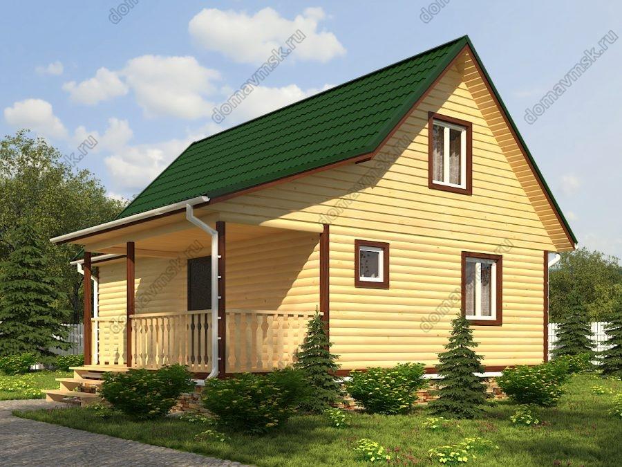 Дом из бруса с мансардой 6х9 проект «Д187»