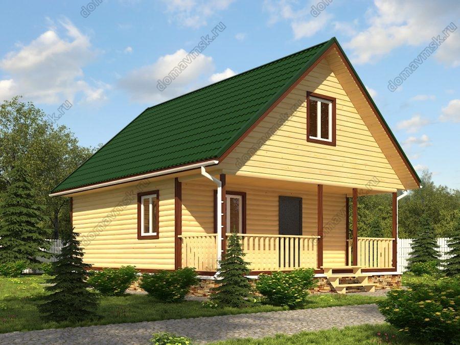 Брусовой дом с мансардой 7х9 проект «Д190»