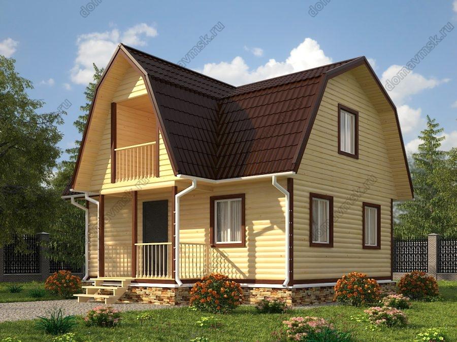 Брусовой дом с мансардой 6х8 проект «Д192»