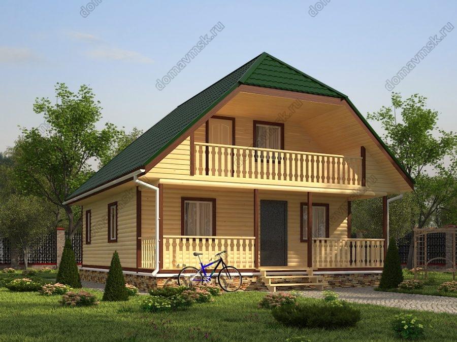 Брусовой дом с мансардой 8х10 проект «Д193»