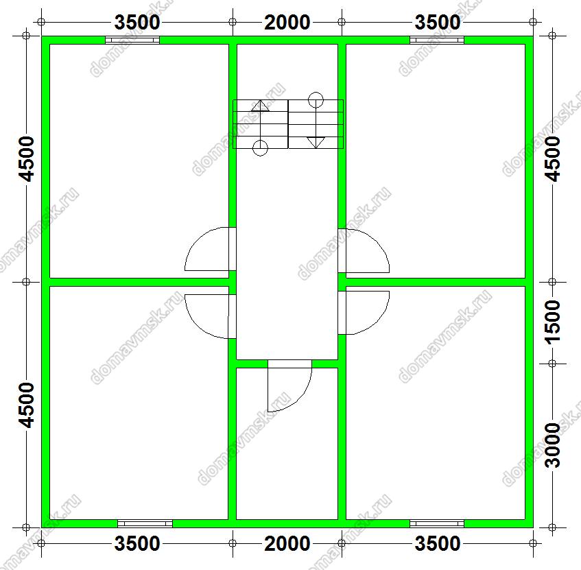 Планировка 2го этажа дома 9х9